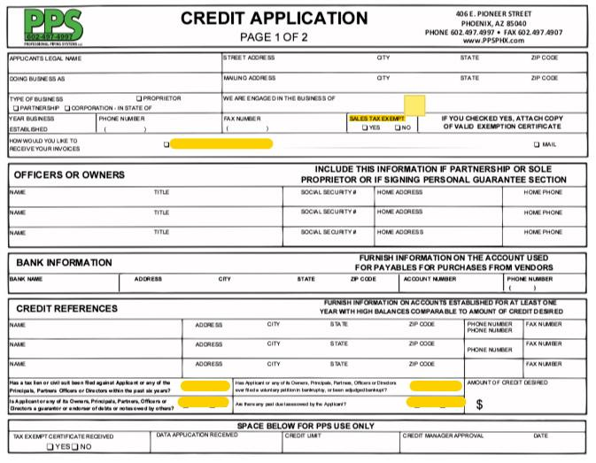 pps credit application - Credit Application