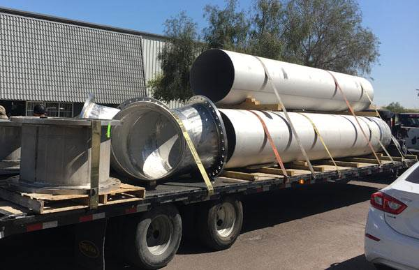 pipes loaded on truck - Cement Mortar Line Pipe Fabrication